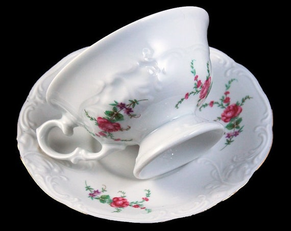 Footed Wawel Teacup and Saucer, Rose Garden, Bone China, White, Embossed, Pink Roses, Made In Poland