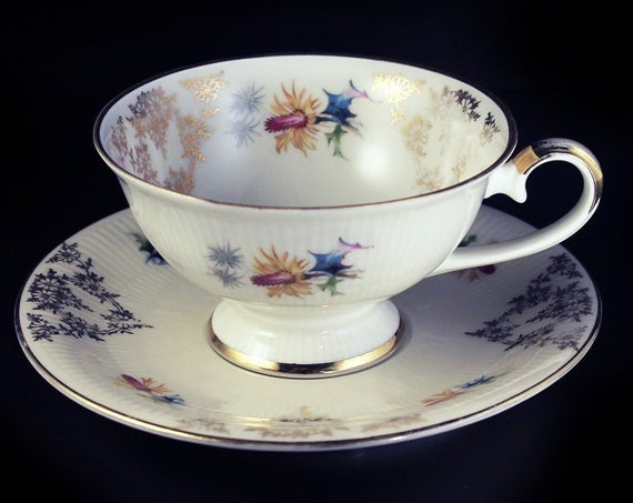 Teacup and Saucer, Schumann Bavaria, Bone China, England, Floral Pattern, Gold Trim