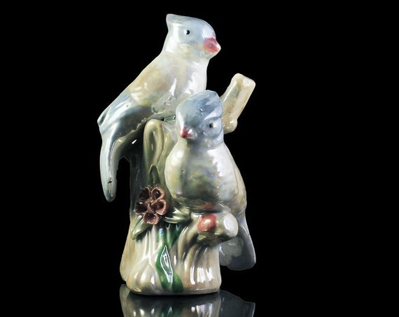 Lusterware Birds Figurine, Pair of Birds Figurine, Made in China, Blue and White, Porcelain, High Gloss