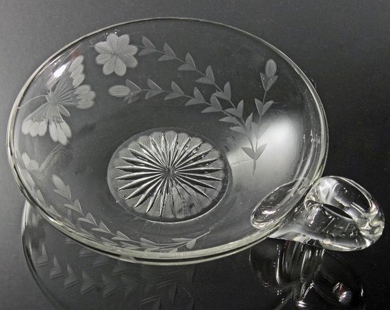 Antique Clear Glass Nappy, Wheel Cut, Butterfly Floral Pattern, Handled Bowl