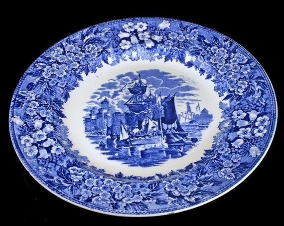 Antique Dinner Plate, Wedgwood Ferrara, Blue Transferware, Blue Flowers, Ships and Buildings