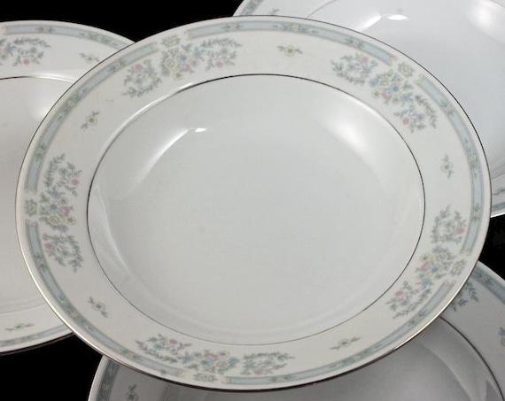 Soup Bowls, Fairfield Fine China, Versailles Pattern, Set of 4, Pastel Floral, Platinum Trim