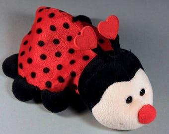 Russ Ladybug, Valentine's Day Gift, Plush Animal, Plush Lady Bug, Red and Black, Heart Antennae