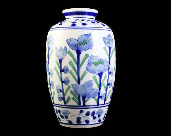 Chinese Table Vase, Hand Painted, Blue Floral, White Blue and Green, Chinese Porcelain, 7 Inch