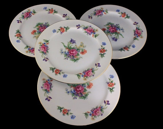 Salad Plates, Sango China, Occupied Japan, Floradel, Floral Pattern, Multi-floral, Gold Trim, Set of 4