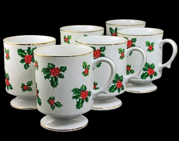 Christmas Footed Mugs, Lefton China, Holly, Set of 6, Hand Painted, Holiday Mugs, Gold Trimmed