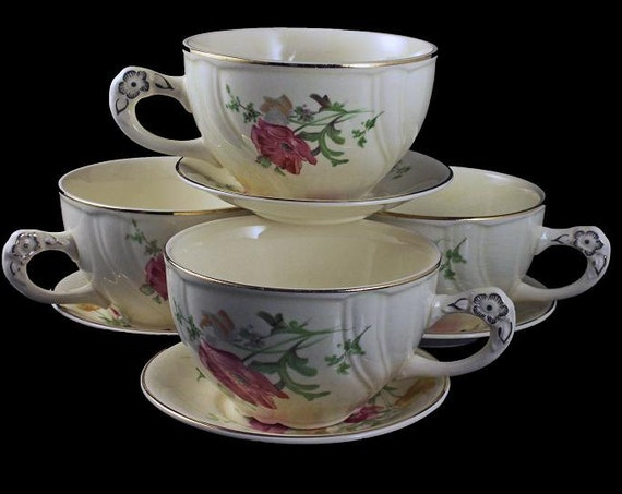 Teacups and Saucers, TST (Taylor Smith Taylor), Ivory, Floral, Gold Trimmed, Mini Saucers