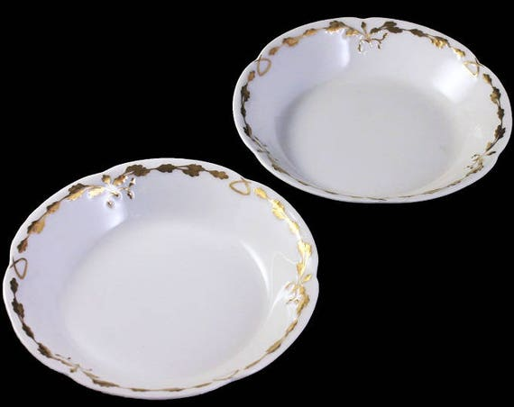 Antique Fruit Bowls, Old Abbey, Limoges France, Latrille Freres, Raised Gold, Hand Painted, Set of 2, Rare, Hard to Find