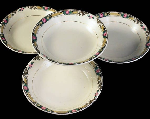 Dessert Bowls, Mount Clements, Set of 4, Floral Band, Pink Rose, Fine China