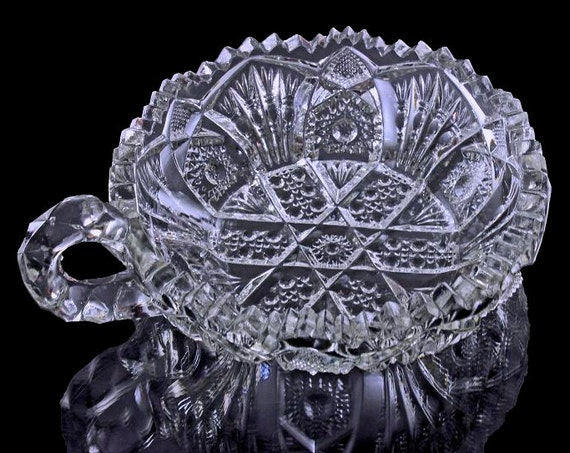 EAPG Nappy, Antique, Imperial Glass, Sawtooth Edge, Star and Fan Design, Handled Bowl, Serving Dish, Sauce Bowl
