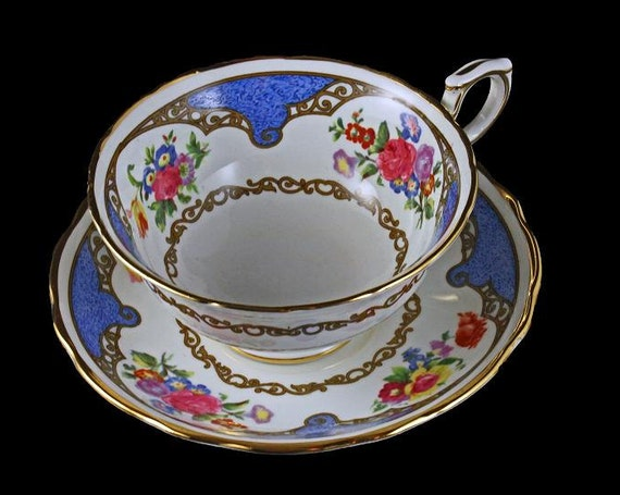 Teacup and Saucer, Hammersley, Bone China, T Goode Co, Made in England, Blue and White, Floral, Large Cup, Footed, Gold Trimmed