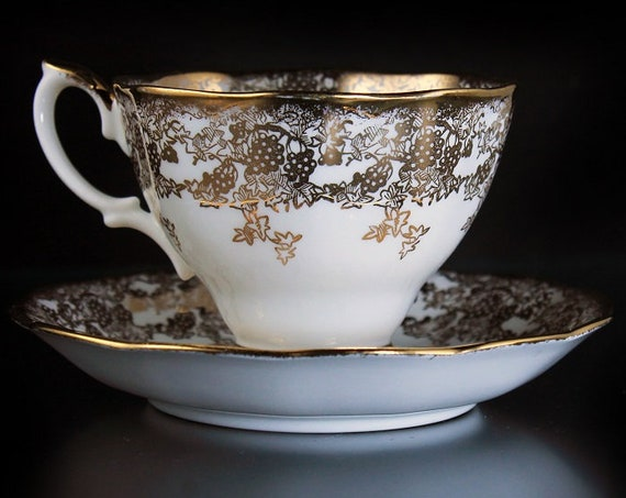 Royal Albert  Footed Teacup, Grapevine Pattern, 22K Gold Gilt, Fine Bone China
