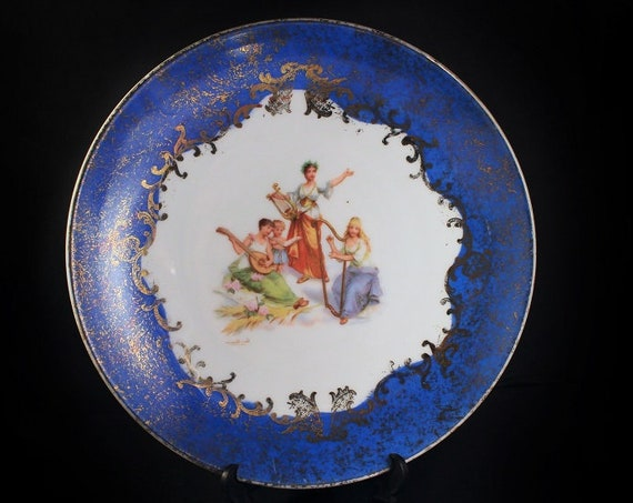 Decorative Antique Plate, Victoria Carlsbad, Austria, Display Plate, Portrait Plate, Gold Gilt