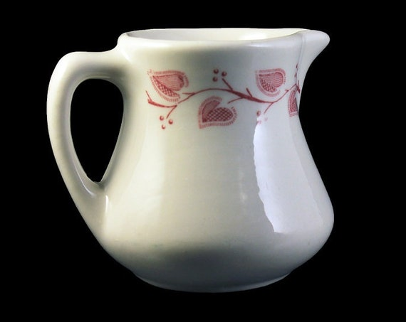 Windsor Creamer, Buffalo China, Restaurant Ware, Pink and White, Individual, Pitcher, Jug, Collectible