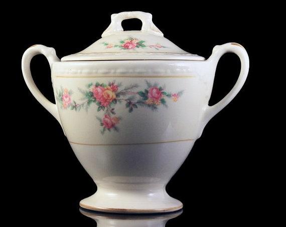 Sugar Bowl, Homer Laughlin, Countess Pattern, Georgian Shape, Eggshell Nautilus, Floral Design