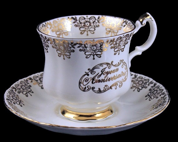 Footed Teacup and Saucer, Paragon China, Joyeuse Anniversaire, 24K Gold Trim, Happy Anniversary Teacup, Bone China, Golden Anniversary