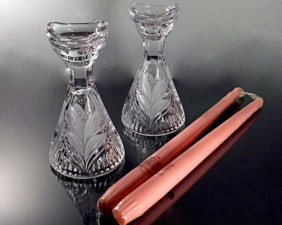 Crystal Candlesticks, Wide Base, Frosted Leaf Design, Crystal Candle Holders, Set of 2, Candles Included