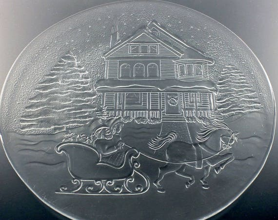 Christmas Platter, Sleigh Ride, Holiday Platter, Christmas Plate, Serving Plate, Pressed Glass, Clear Glass Platter
