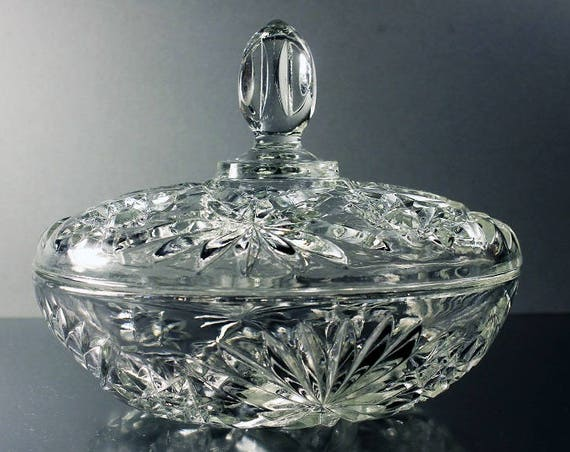 Covered Candy Dish, Anchor Hocking, Prescut, Clear Glass, Star and Fan Pattern, Pressed Glass, Candy Box
