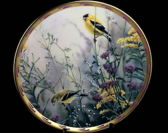 1992 Lenox Collector Plate, Golden Splendor, Nature's Collage,  Limited Edition, Decorative Plate, Wall Decor, Bird Plate, Goldfinch