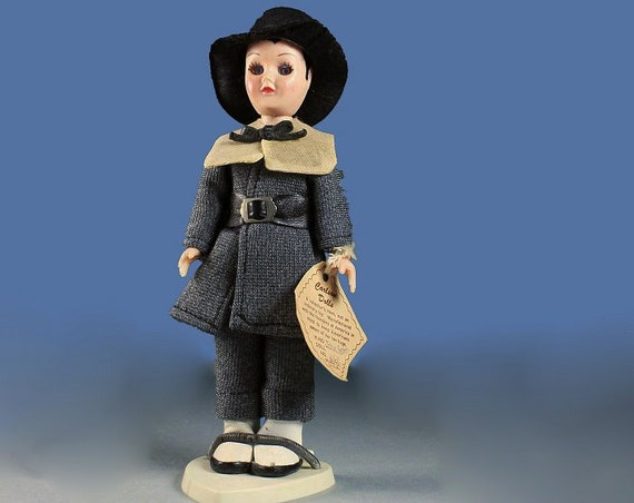 Carlson Doll, John Alden, Pilgrim Doll, 1950 Collectible, Closing Eyes, Plastic, Hard Body, Display Doll, 7 1/2-Inch Doll, Original Tag