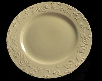 Plate, Homer Laughlin, OvenServe, Embossed, Ivory, Silver Trimmed