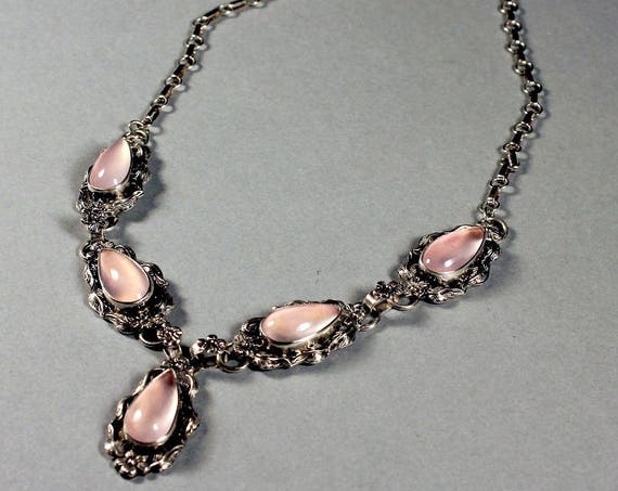 Rose Quartz Necklace, Sterling Silver,  Carol Felley Designer, Native American Design, Floral Rose Pattern