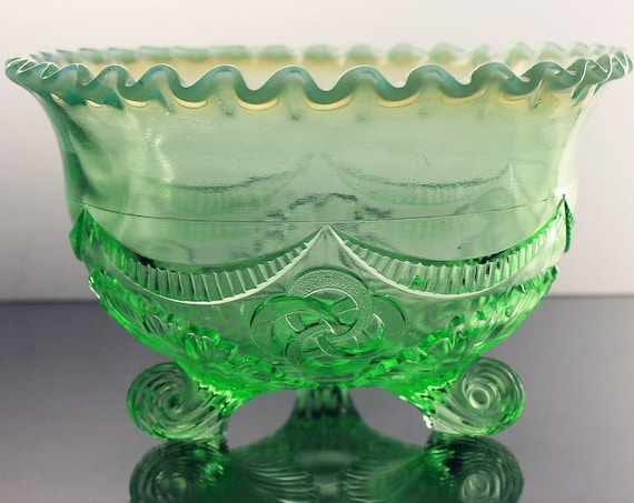 Antique Footed Bowl, Jefferson Glass, Ruffles and Rings, Opalescent Green, Decorative Bowl, Fruit Bowl, Centerpiece, Crimped Edge, 3 Toed