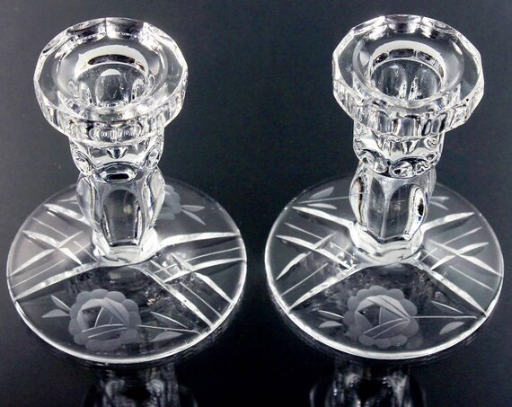 Etched Glass Candlesticks, Candle Holders,  Floral Pattern, Cut Glass, Pair, Clear Glass, Peach Candles Included, 10 Inch Candles