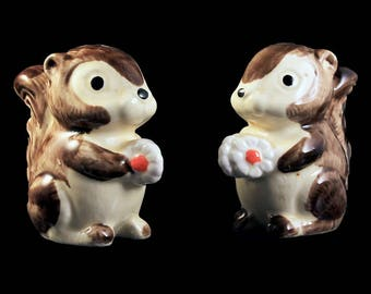 Squirrel Salt and Pepper Shakers, Ceramic, Hand Painted, Farmhouse Decor, Country Decor, Collectibles, Made in Japan