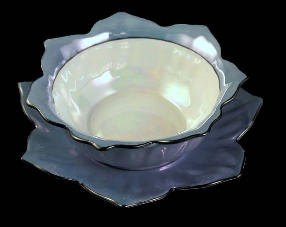 Noritake, Footed Bowl and Underplate, Morimura Bros., Lusterware, Lotus Flower, Hand Painted, Serving Bowl, Sauce Bowl, Rice Bowl, Mayo Bowl