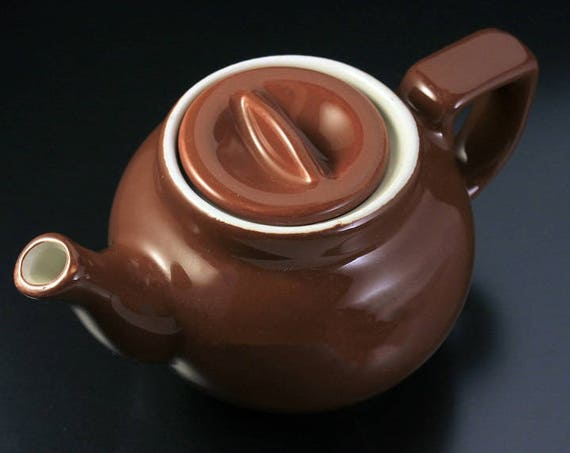 Hall Teapot, Brown, Boston Shape, Individual, 1 Cup, Boston Shape, Sunken Cover, Collectible, Small Teapot