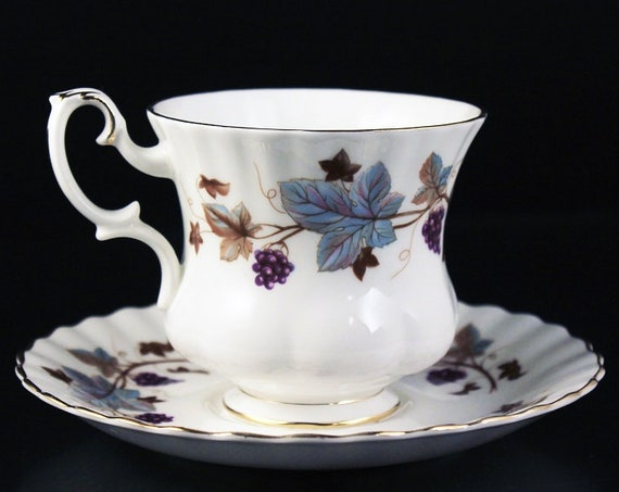 Royal Albert Demitasse Teacup, Lorraine, Leaf and Grape Pattern,  Montrose Shape, Fine Bone China
