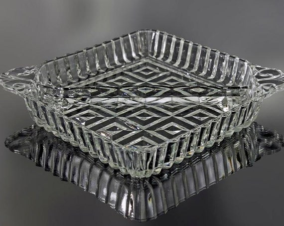 Square Divided Tray, 2 Handles, Cube Design, Pressed Glass, 2 Sections, Relish Dish, Trinket Dish, Coin Dish