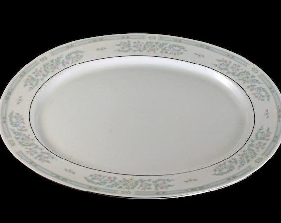Platter, Fairfield Fine China, Versailles Pattern, Light Blue, Floral Design, Platinum Trim
