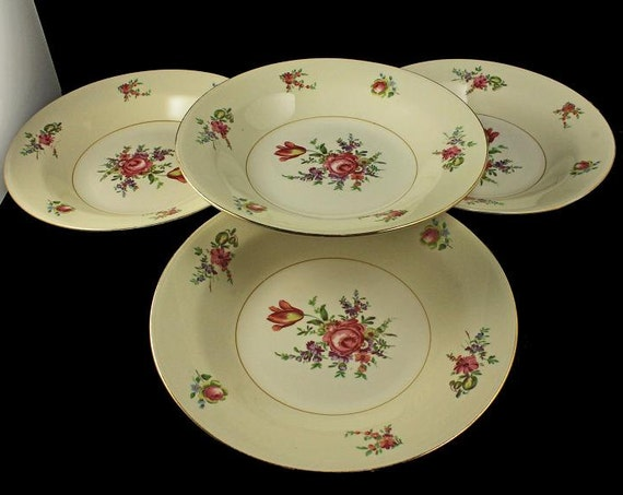 Soup Bowl, Household Institute, Priscilla Pattern, Set of 4, Homer Laughlin, Rose Pattern, Gold Trim