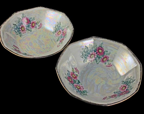 Lusterware Floral Bowls, Trimont Ware, Japan, Opalescent, Iridescent, Set of 2, Original Label, Decorative Bowls