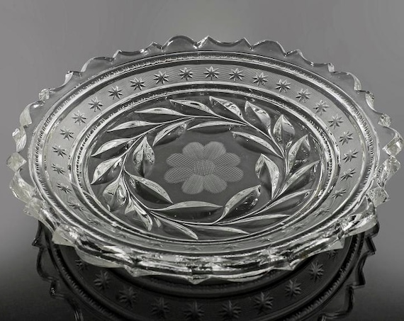 EAPG Bowl, Serving Bowl, Band of Stars, Flower, Wreath of Leaves, Pressed Glass, Early American, Sawtooth Edge