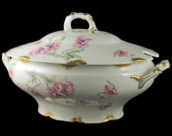 Antique Soup Tureen, Theodore Haviland, Limoges, France, Pink Poppy Pattern, Schleiger 841-1, Gold Trimmed, Hard To Find China, Fine China