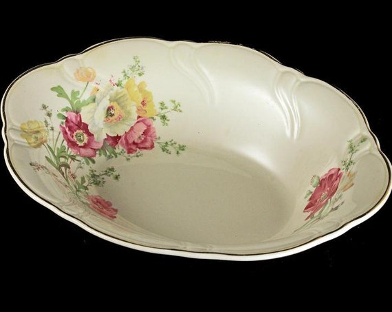 Oval Vegetable Bowl, TST Taylor Smith Taylor, Ivory, Floral, Gold Trimmed