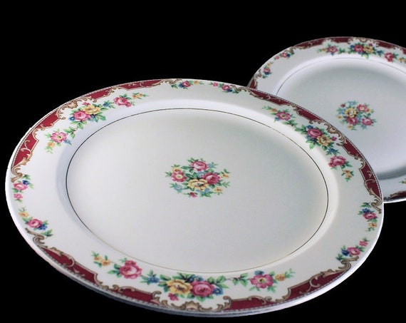 Luncheon Plates, Edwin Knowles, Lido, Set of 2, Pink Rose Floral, Fine China