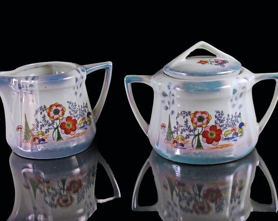 Sugar Bowl and Creamer, Lusterware, Opalescent, Floral, Blue and White, Made in Germany