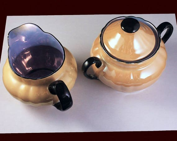 Sugar Bowl and Creamer, Made In Germany, Lusterware, Opalescent, Hand Painted, Peach, Blue, Black Trim