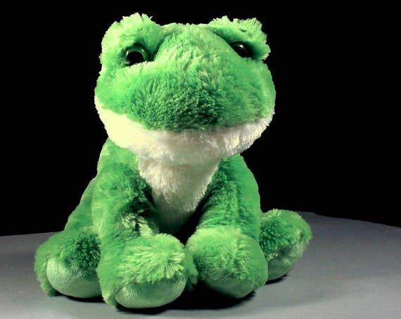 Frog Stuffed Animal, Aurora, Fluffy, Soft, Green and White, Sitting Frog