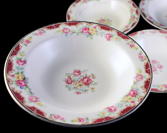 Rimmed Fruit Bowls, Edwin Knowles, Lido, Set of 4, Pink Rose Floral, Fine China