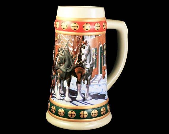 1993 Budweiser Holiday Stein, Hometown Holiday, Beer Stein, Christmas Stein, Collectible, Anheuser-Busch Stein