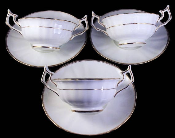 Antique Bouillon Cups and Saucers, Cauldon Ltd., White and Gold, Fine Bone China, Rare, Scalloped, Set of 3, Footed Cups