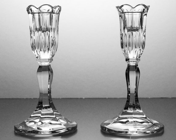 Waterford Crystal Candlesticks, Marquis, Sorrento, 24% Leaded Crystal, 6 Inch Tall, Candle Holders, Pair, Clear Glass, Signed