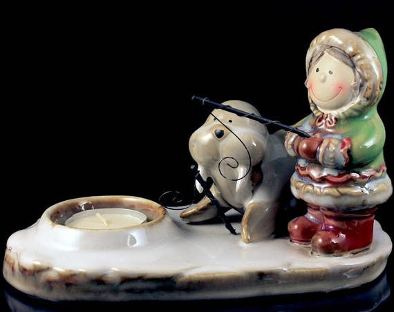 Tea Candle Holder, Yankee Candle, Eskimo and Walrus, White Tea Candle, Figurine, Collectible