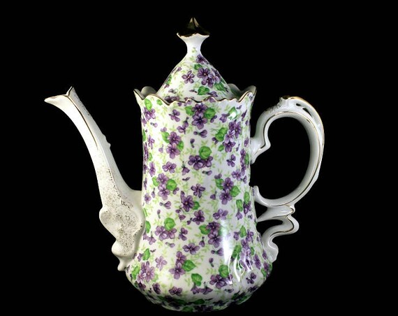 Lefton Coffee Pot, Violet Chintz, Gold Trim, 3 Cup, Teapot, Hot Chocolate Pot, Collectible, Fine China, Porcelain, Fine China